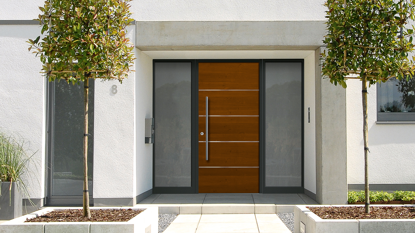Aluminum wood entry doors harman fensterbau for Wooden entrance doors